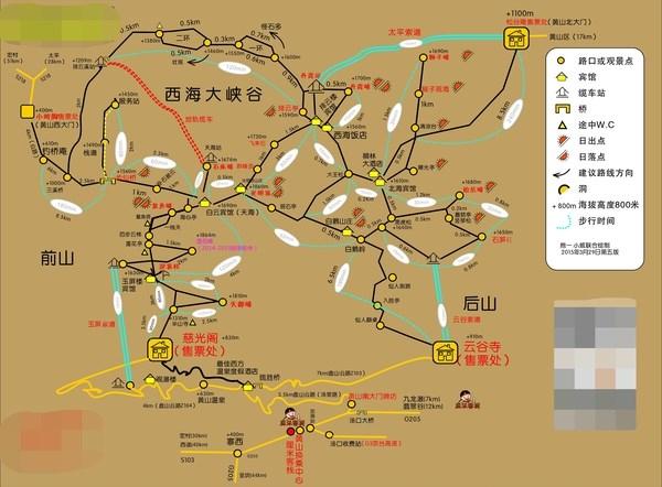 黄山二日游登山路线图