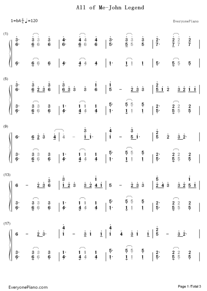 求大神all of me钢琴谱转换简谱图片