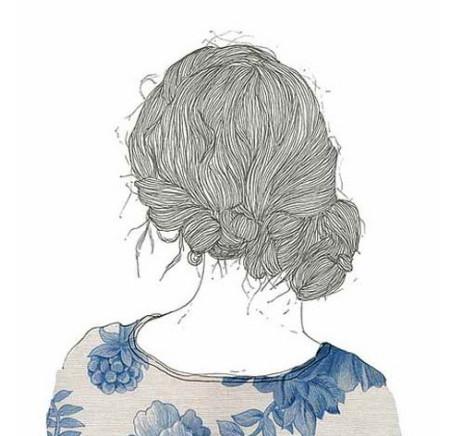 求一系列图手绘的女生的背影头发是黑白的衣服是彩色的图片