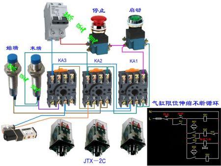 电磁阀用接近开关控制气缸来回运动怎么接线!-继电器接线图 220v电图片