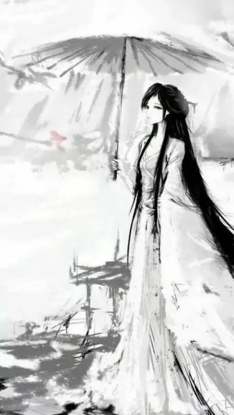 古风白衣女子手绘_百度知道图片