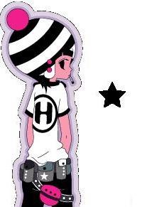有一对卡通情侣背影头像 旁边带一颗黑色星星的~谁知道请帮下忙!图片