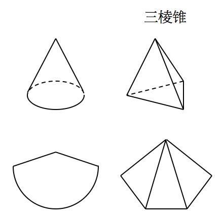 三棱锥的轴截面为一个正三角形,问三棱锥侧面展开图的图片
