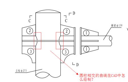 正视图中CAD绘制圆柱相交按钮?在怎么cad曲线里面撤销在哪图片