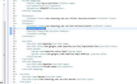 javawe.xml中listener设置sessionconfig报错