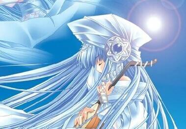 冰蓝色长发动漫少女图片
