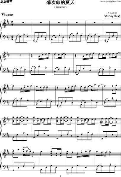 求久石让summer钢琴谱的五线谱和简谱图片