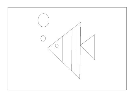 一个长方形五个三角形三个圆形拼成金鱼吐泡泡图片