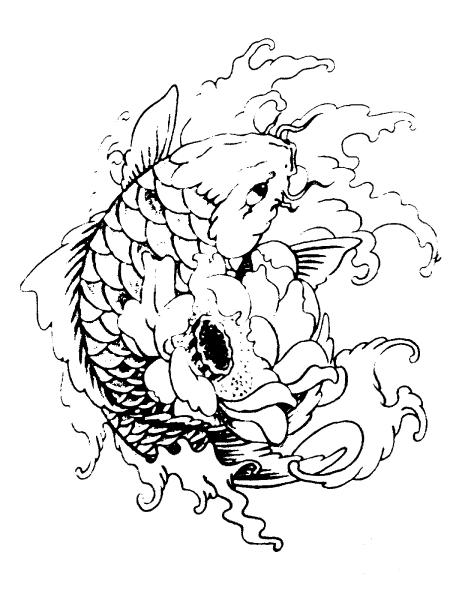 求这副鲤鱼图的纹身用割线图图片