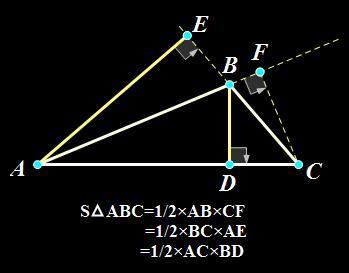 怎么求钝角三角形的面积(用外部的高)图片