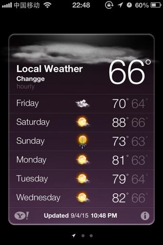 iphone4s 自带天气变成了英文,其他都是中文,设置里也是中文只有天气图片