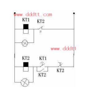 求:用双时间继电器控制一个电磁阀的线路图图片