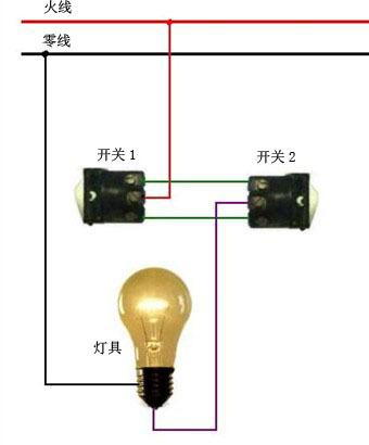 一灯两个开关怎样接法图片