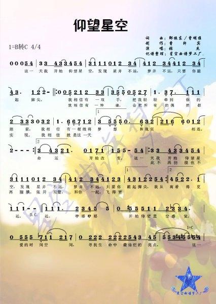 有《仰望星空》五线谱《小提琴的吗?你有一次发了简谱图片