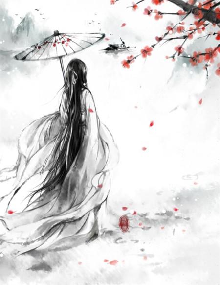 白衣女子撑伞古风图图片