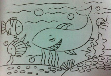 """以""""鲸鱼""""为题目的《海底世界》简笔画.急急急!图片"""