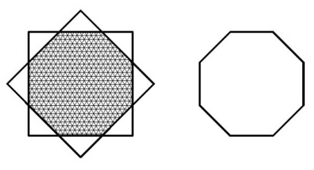 正八边形的面积=原一个正方形面积减去四个小等腰直角三角形的面积图片