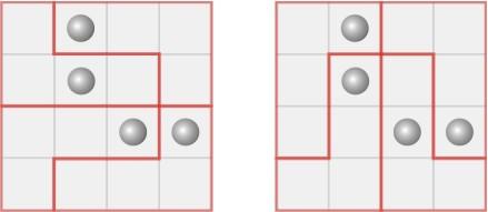 如图,四个方格中分别有一颗棋子,请把正方形剪成四个完全相同的图形图片