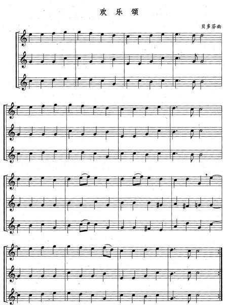 长笛欢乐颂简谱是什么?图片