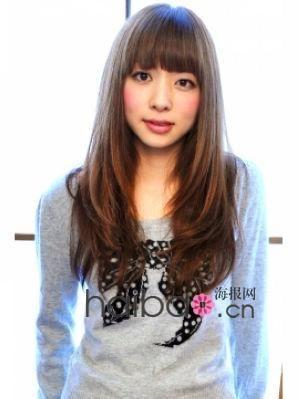 长发 齐刘海女生头发染什么色更可爱图片
