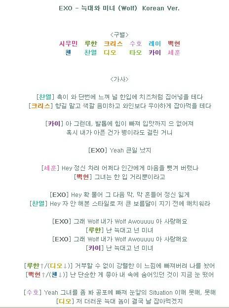 求exo狼和美女韩文版歌词还有分别是谁唱的