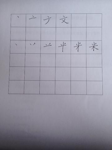 求文字和米字的笔画顺序,最好有图 在田字本上书写笔画顺序,占格