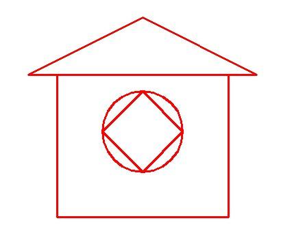 等腰三角形:房顶 正方形:房体 圆形:窗户  【数学辅导团】为您图片