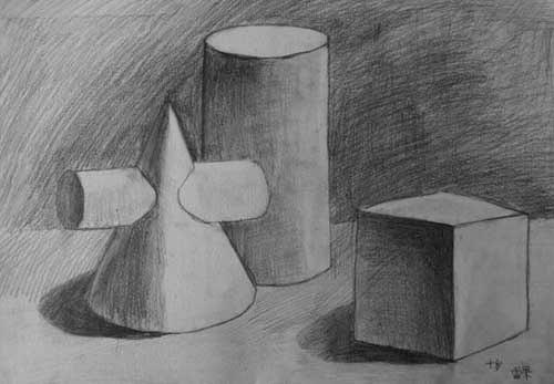 找一张纯正面的圆柱圆锥穿插体素描图图片