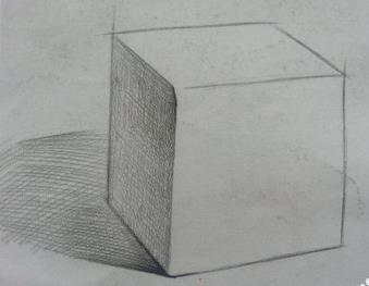 请问如何画素描中的正方体图片