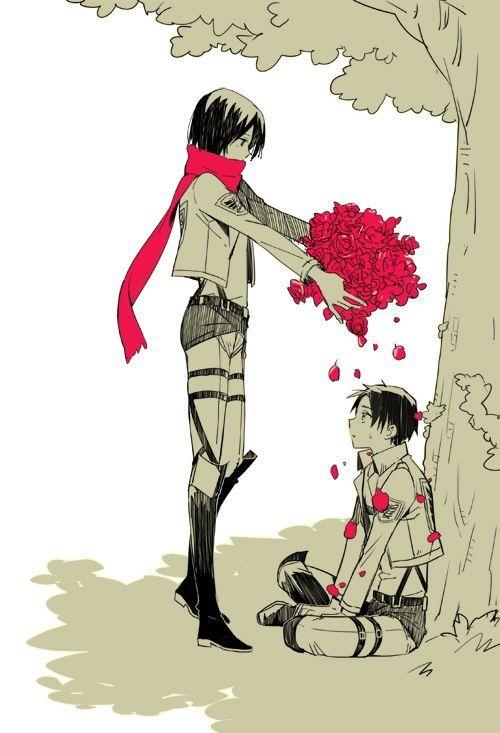 进击的巨人艾伦和三笠拿花的图片