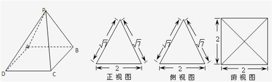 一个多面体的直观图和三视图如图所示(1)pa⊥bd(2)求几何体p-abcd的表图片