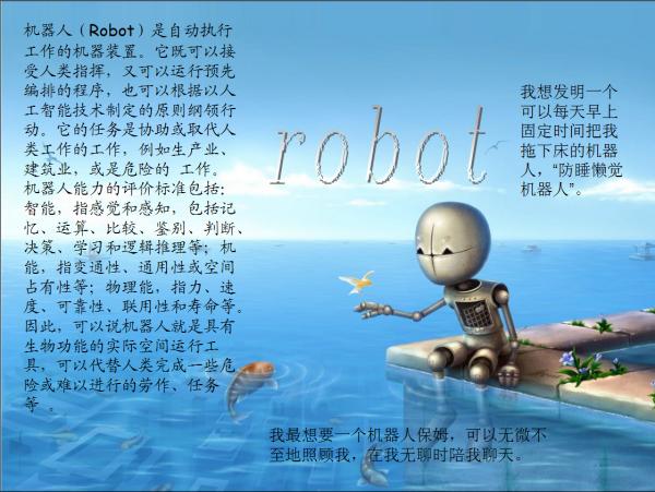 张关于机器人的电子小报 A3大小