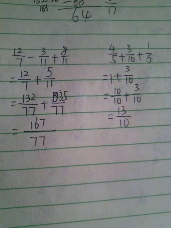 分数加减混合运算的顺序 12 7 3 11 8 11 ,4 5 3 10 1 5