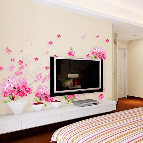 电视背景墙不做造型,或是简单的造型,买点墙贴用在上面好不好