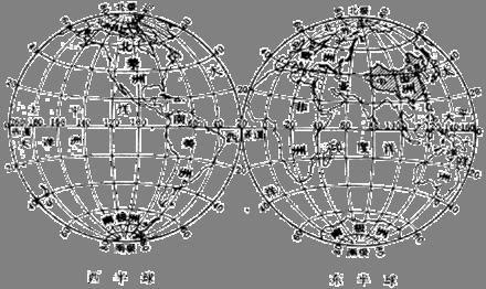 地球仪上西经,东经,南纬,北纬0度和180度,求做一张图显现出来.