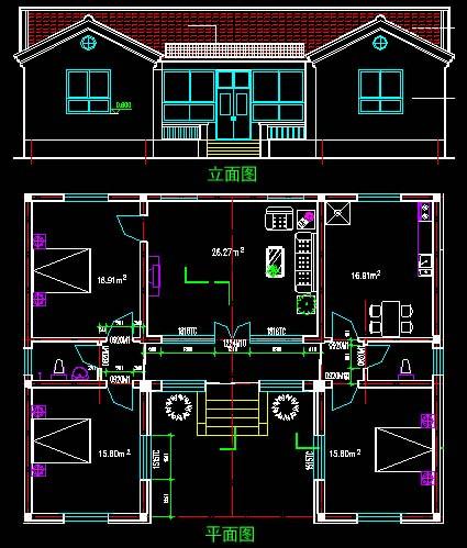 农村房一梯二套一堂屋设计图,兄弟共用堂屋,共用楼梯图片
