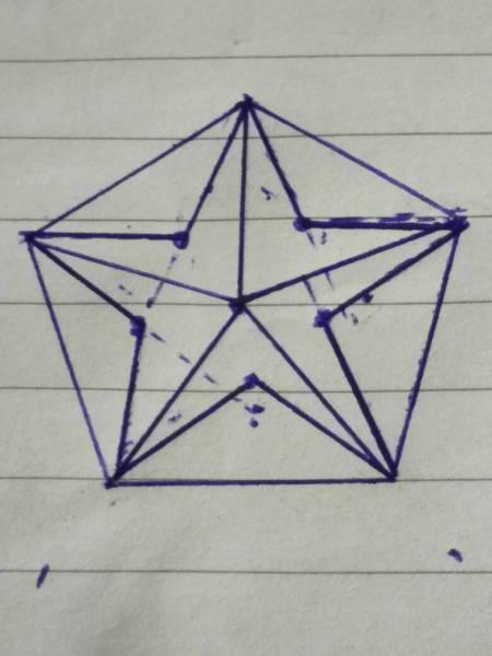 怎么用简单工具画出个标准的五角星?要求内角相等边长图片